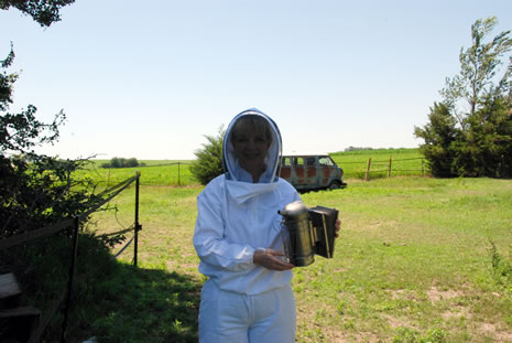 Theresa in her bee suit.