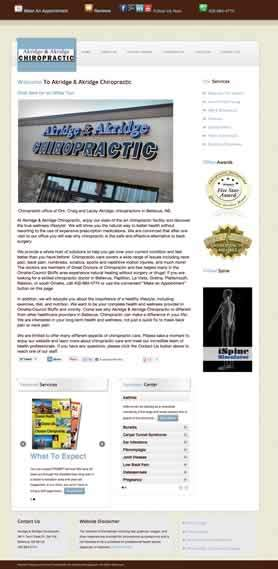 Akridge Chiropractic website: Before redesign