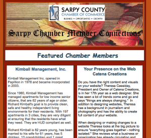 Catena Creations in Sarpy Chamber newsletter