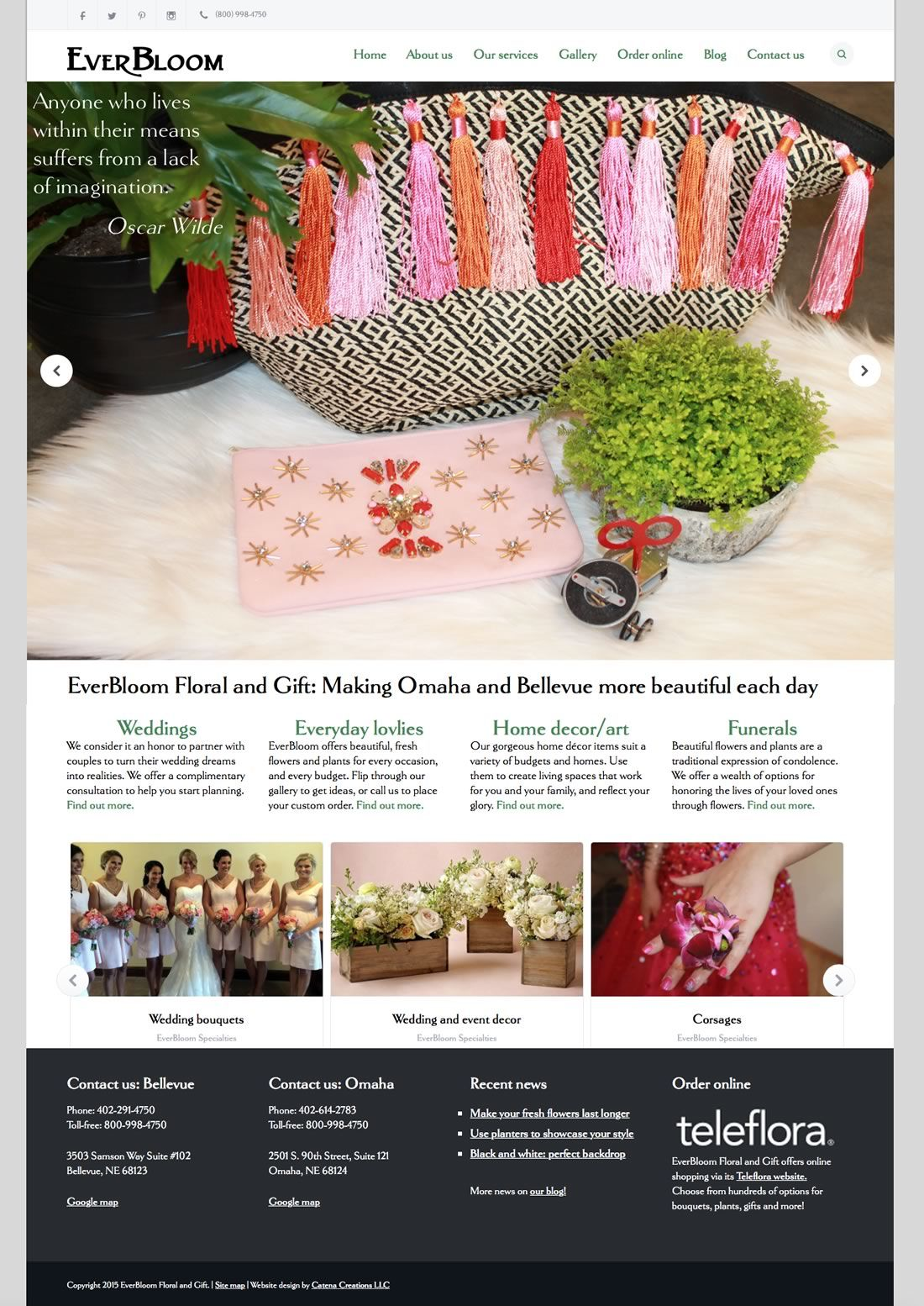 Everbloom Floral website by Catena Creations