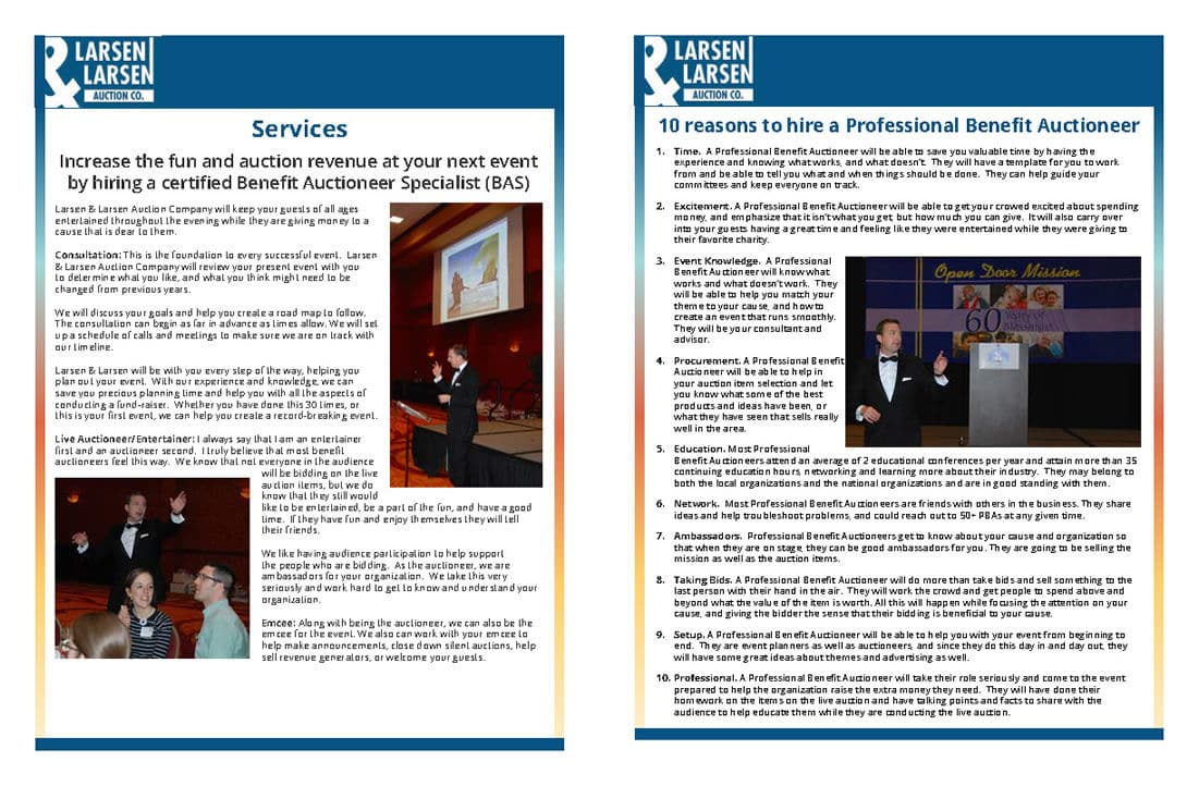 Press packet for Larsen Auctioneering by Catena Creations
