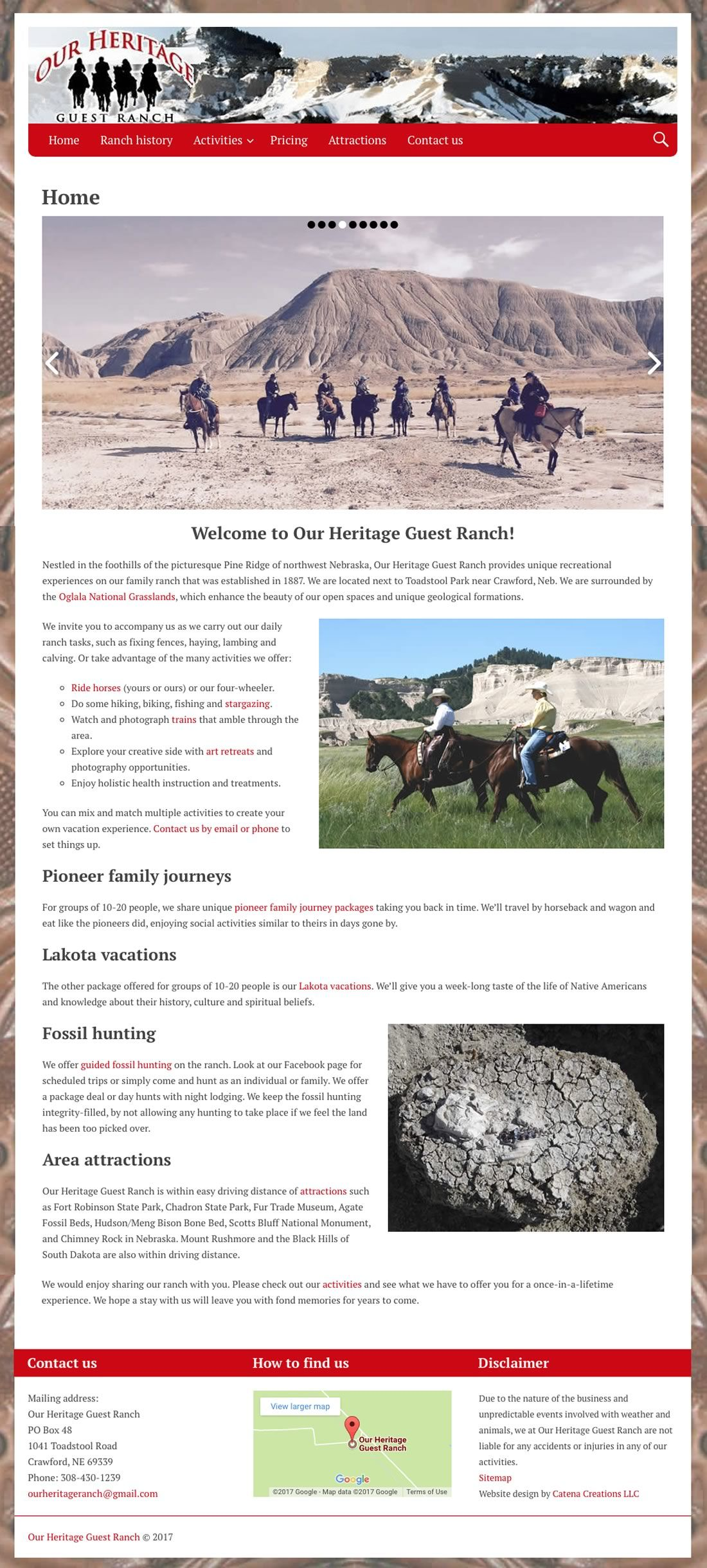 Our Heritage Guest Ranch website