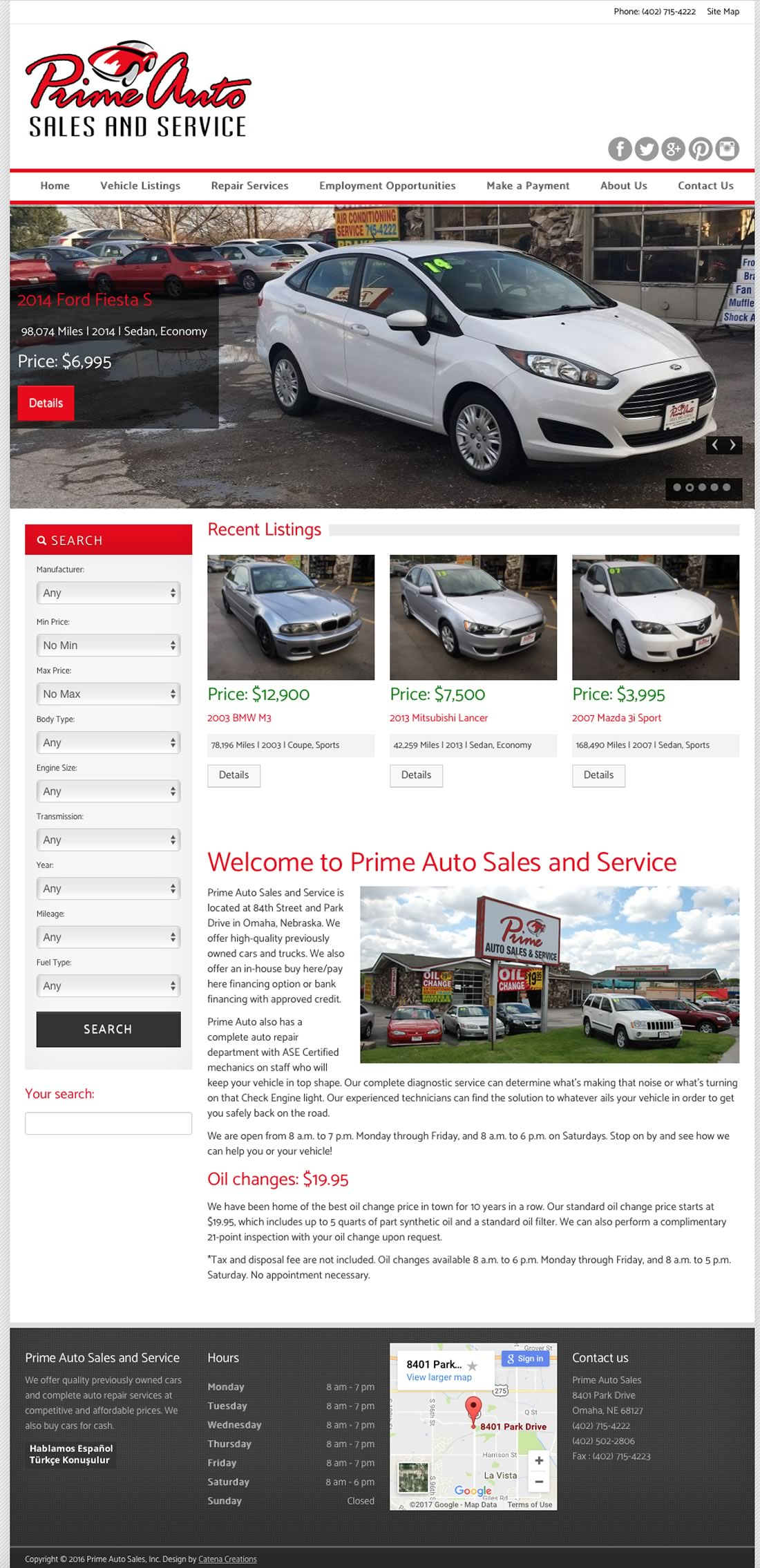 Prime Auto Sales website by Catena Creations