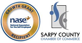 NASE seal and Sarpy Chamber logo