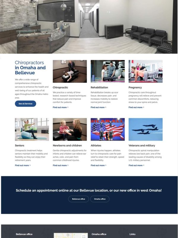 Akridge & Akridge Chiropractic website redesign by Catena Creations