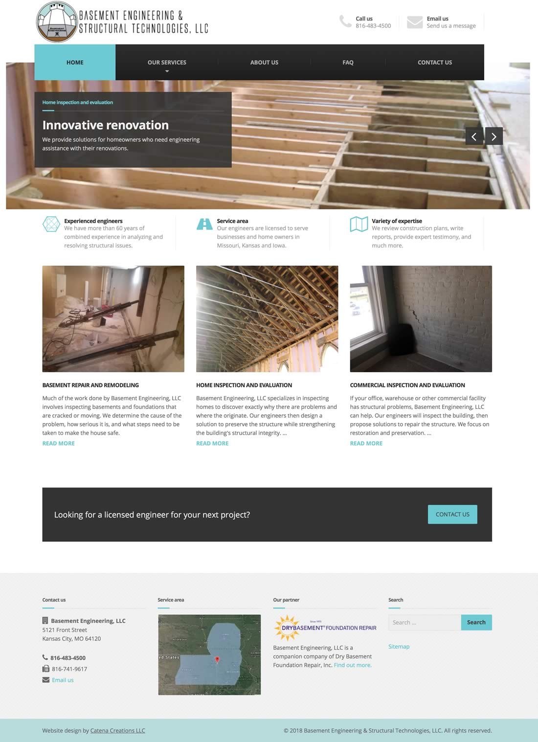 Basement Engineering website design