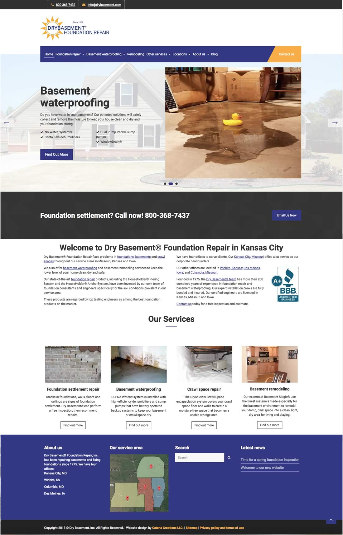 Dry Basement Foundation Repair website redesign