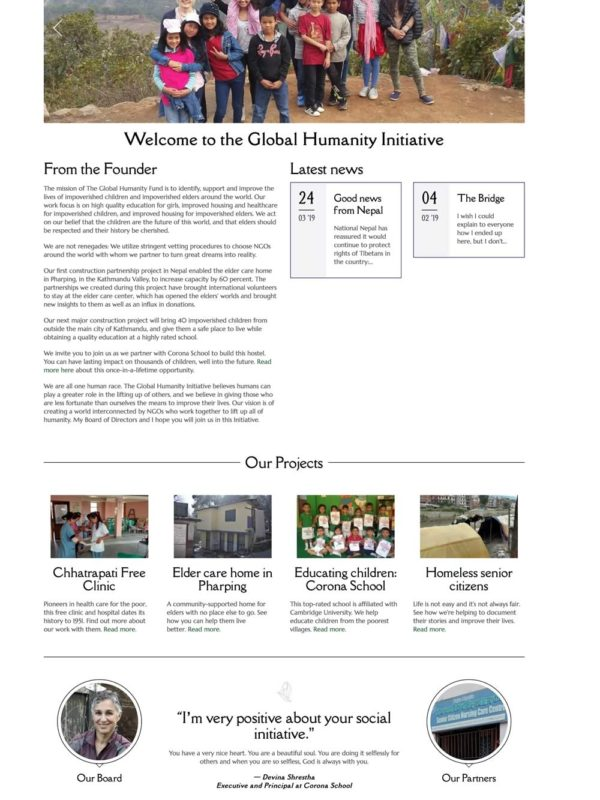 Global Humanity Initiative website by Catena Creations